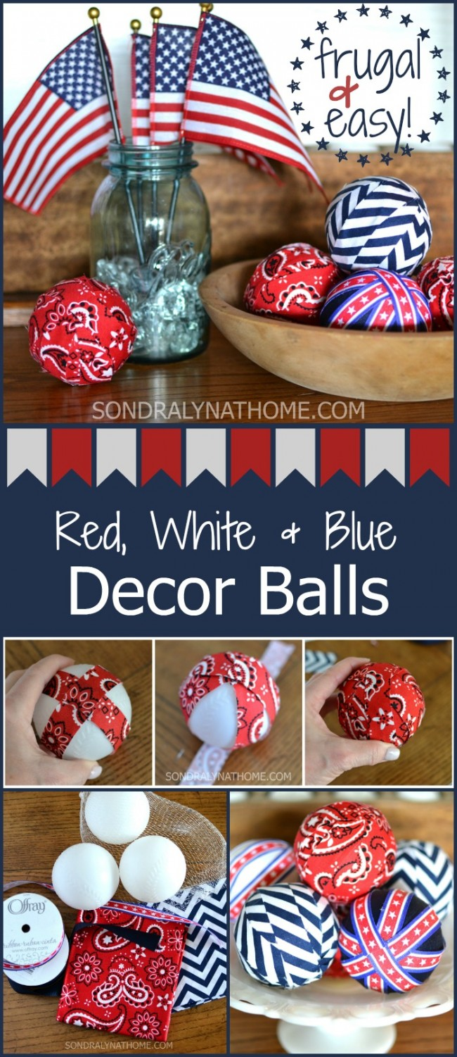 Red White Blue Patriotic Decor Filler Balls - SondarLynAtHome.com