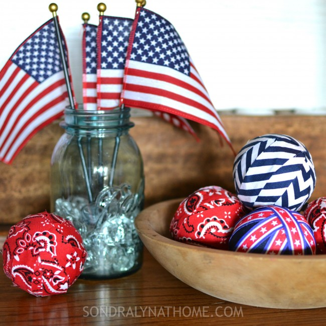 Red White Blue Patriotic Decor Filler Balls --- Sondra Lyn at Home.com
