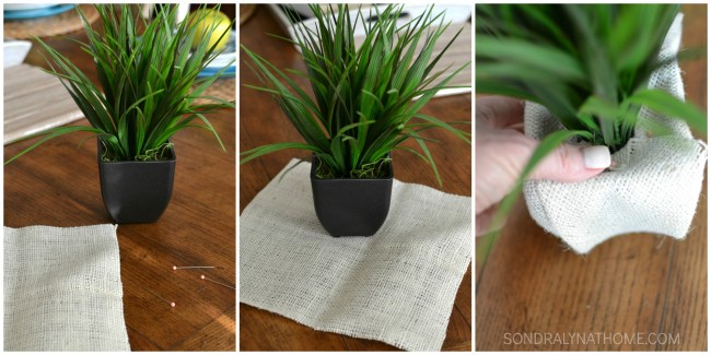 Burlap wrapped plants How to wrap a small planter with burlap- SONDRALYNATHOME.COM