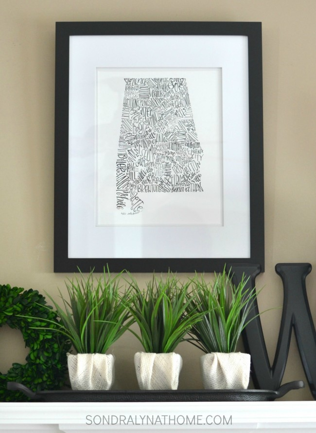 Late Summer Mantel with state art, antique books, botanicals and white ware - Sondra Lyn at Home.com