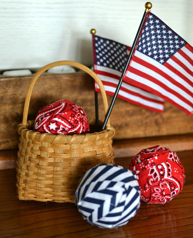 Red White Blue Filler Balls and basket