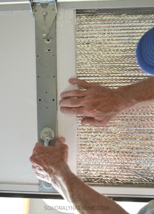 How to Insulate Garage Doors - Installing Panels of Foam Insulation - Sondra Lyn at Home.com
