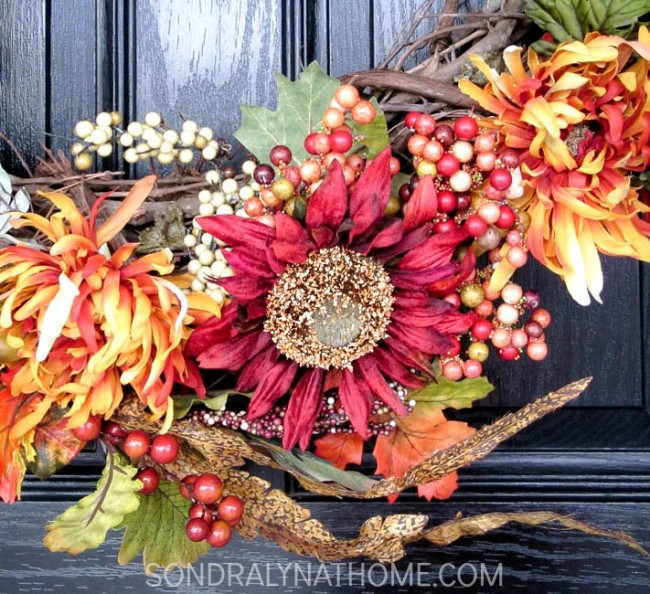 How to Make a Fabulous Fall Wreath-detail-- Sondra Lyn at Home.com