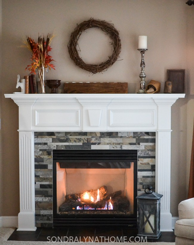 Easy L And Stick Stone Fireplace Surround Sondra Lyn At Home Rh Sondralynathome Com Diy