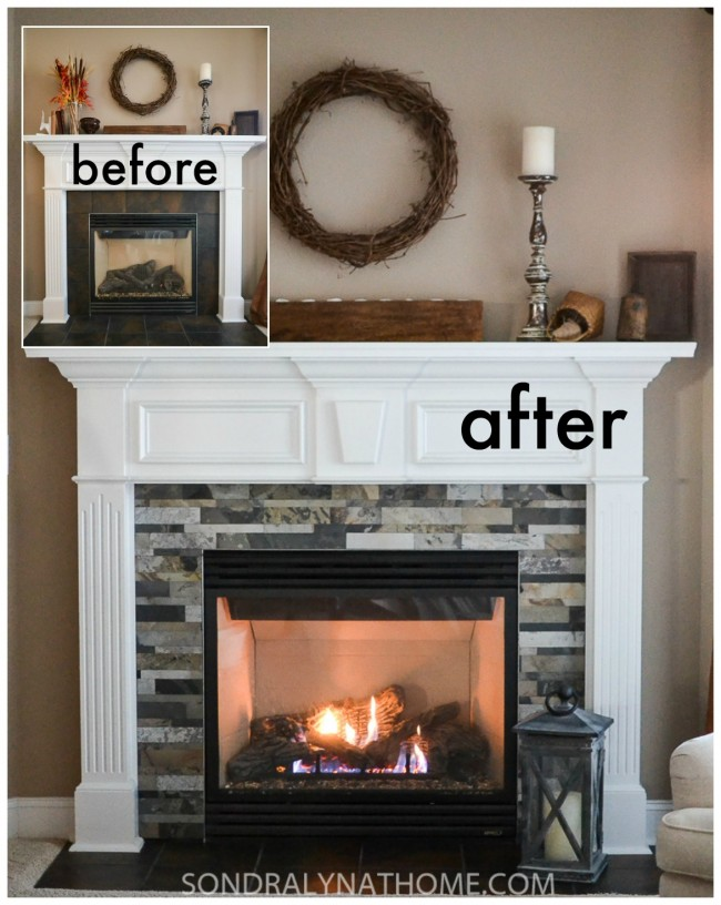 slate tile fireplace surround. Diy Stone Fireplace Surround Before And After Sondra  Behance
