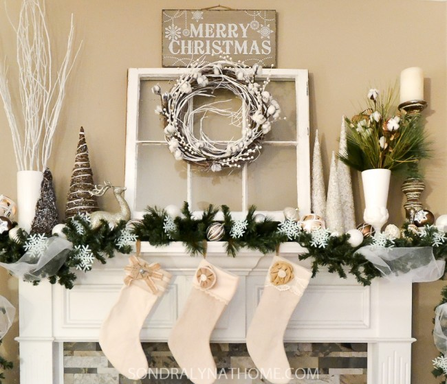 winter white christmas mantel with stockings close up - Pictures Of Mantels Decorated For Christmas