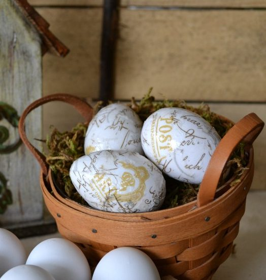 Spring French Script Eggs - Sondra Lyn at Home.com for home page