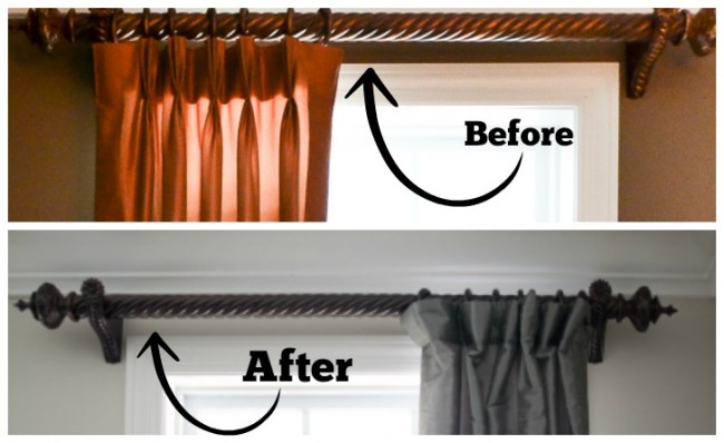 Drapery Hardware Makeover-Before and After-Sondra Lyn at Home.com